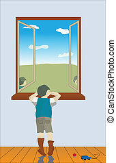 The boy looks out of the window - The boy in loneliness...