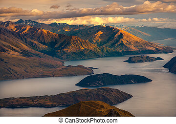 Beautiful sunrise landscape view from Roy's peak, Lake...