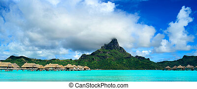 Bora Bora island panorama with resort and lagoon - Panorama...