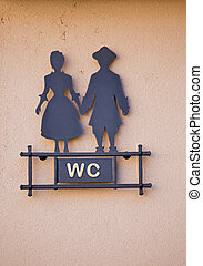 WC - Sign WC with stylized man and woman