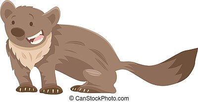 marten cartoon animal character - Cartoon Illustration of...