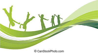 children - abstract background with children playing