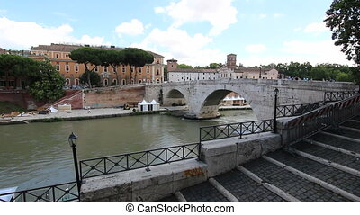 The Tiber River and Island - Shot of The Tiber River and...
