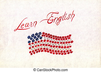 """Handwriting """"Learn English"""" watercolor with  flowers flag on a white background"""