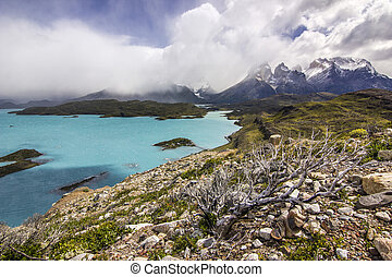 mountains of patagonia at daylight near blue lake from viewpoint