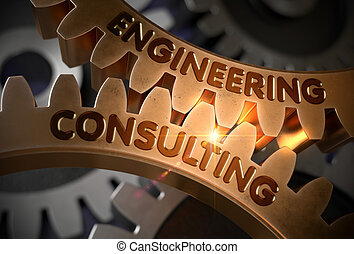 Engineering Consulting on Golden Cog Gears. 3D Illustration....