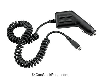 Automobile USB charger for phones, PDA, etc. isolated on the whi