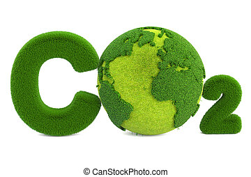 CO2 from grass inscription with globe, eco concept. 3D...