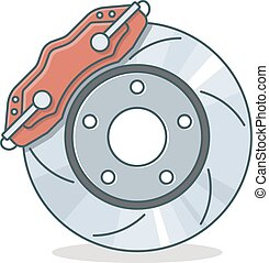 Brake disc icon, flat design