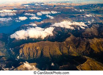 Aerial landscape view of mountain range near Queenstown, NZ...