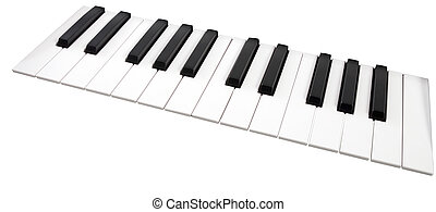 Close-up of a electronic piano keyboard on white