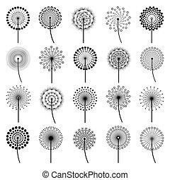 Set of stylized flowers dandelions - Set of black dandelion...