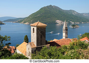 View of town Perast, island of Saint George and Verige...