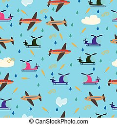 Cute background for kids seamless vector pattern with airplanes and helicopters