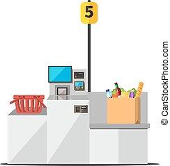 Vector self checkout machine - Vector big paper shopping bag...