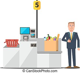 Vector customer using self checkout - Vector male happy...
