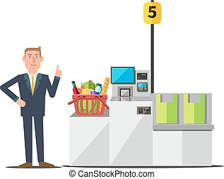 Vector customer using self checkout - Vector male customer...