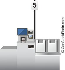 Vector self checkout machine. Grey metal register with...