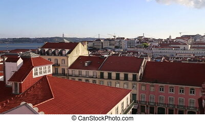 The City Of Lisbon Panoramic View From Balcony - Shot of The...
