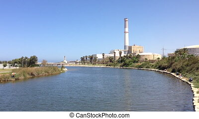 Tel Aviv electric power station on the banks of the Yarkon...