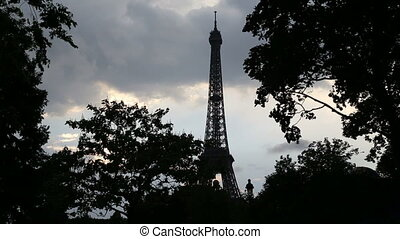 The Eiffel Tower In The Autumn - Shot of The Eiffel Tower In...