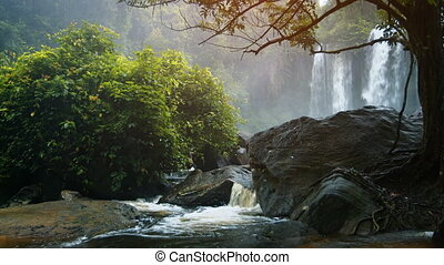 Peaceful, Natural Waterfall in Cambodian Wilderness, with Sound