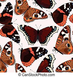 Varicolored butterflies seamless - Varicolored high detailed...