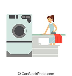 Woman Ironing Laundry, Part Of People Using Automatic Self-Service Laundromat Washing Machines Of Vector Illustrations