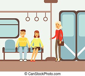 Passengers On Their Places In Metro Train Car, Part Of People Taking Different Transport Types Series Of Cartoon Scenes With Happy Travelers