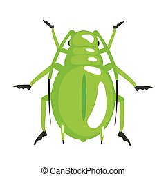 Green longhorn beetle colorful cartoon character isolated on...
