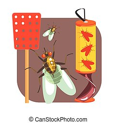 Yellow sticky tape for flies and red fly swatter. Colorful cartoon illustration