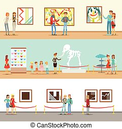 Museum Visitors Taking A Museum Tour With And Without A...