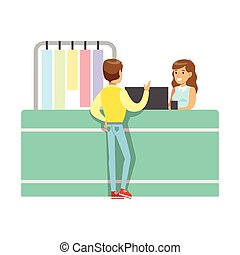 Client And Worker At Dry-Cleaning Counter, Part Of People...
