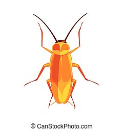 Cockroach insect colorful cartoon character isolated on a...
