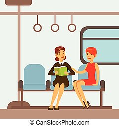 Two Women Sitting In Metro Train Car, Part Of People Taking Different Transport Types Series Of Cartoon Scenes With Happy Travelers