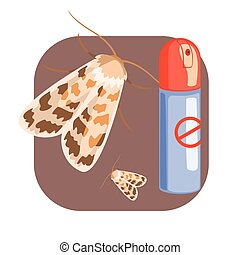 Can of moth insecticide. Colorful cartoon illustration