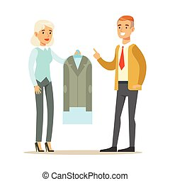Woman Employee Giving A Clean Suit Jacket To Man Client,...