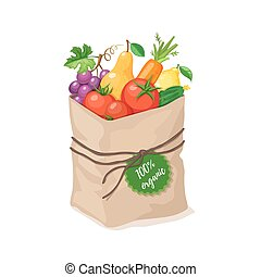 grocery paper bag - Paper bag with 100 percent organic food....