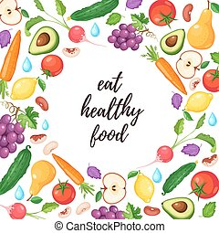 healthy eating poster - Eat healthy food poster with fresh...