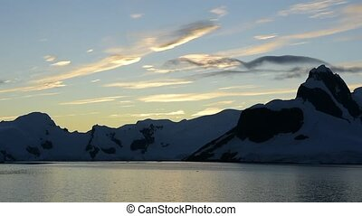 Mountain view in Antarctica - Mountain view , sunset in...