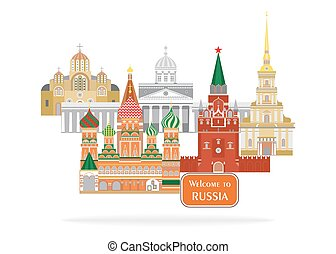 welcome to russia - set in the style of a flat design on the...