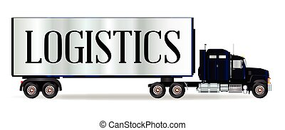 Truck Tractor Unit And Trailer With Logistics Inscription