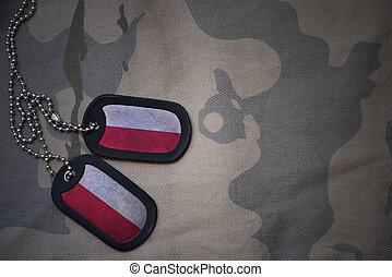 army blank, dog tag with flag of poland on the khaki texture...