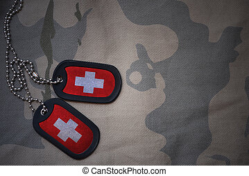 army blank, dog tag with flag of switzerland on the khaki...