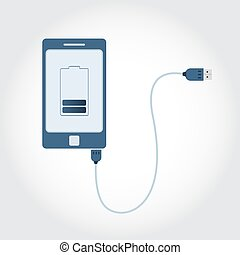 Phone with USB cable - Phone plugged in USB cable. Battery...