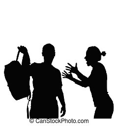 couple black silhouette with furious girl illustration