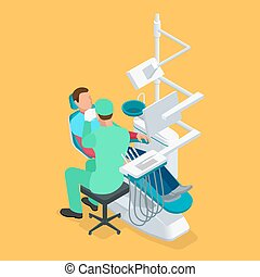 Isometric dentist examining mans teeth in the dentists...