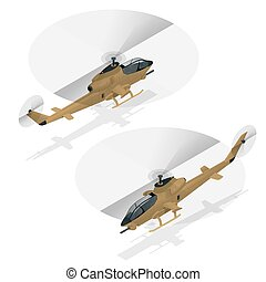 Isometric single-engine attack helicopter. Military air...