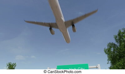 Airplane arriving to New York City airport. Travelling to...