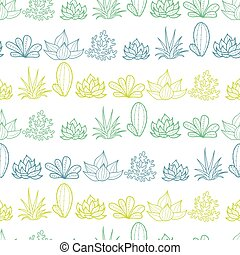 Blue Green Lineart Stripes Seamless Repeat Pattern With...